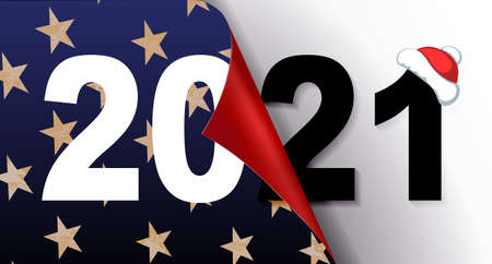 Happy new year 2021 christmas composition in blue hue with texture stars, USA flag silhouette element