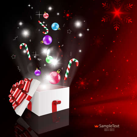 Christmas red drawing with a white box, holiday toys with snowflakes, ribbons, bright light from the box