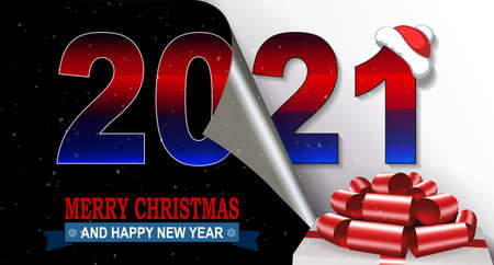 Christmas composition happy new year 2021, white box cover with red bow Иллюстрация