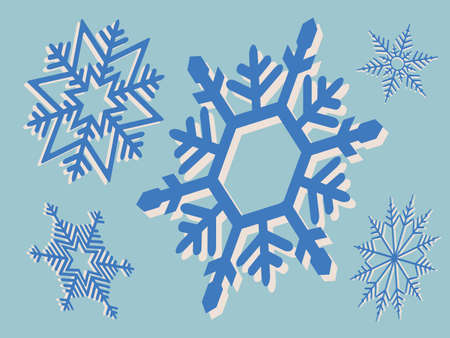 Set of beautiful snowflakes on blue Иллюстрация