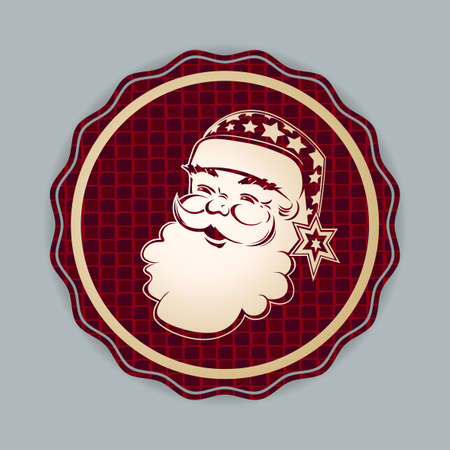 Element of Christmas composition. Textured round red sign with a light silhouette of the face of Santa Claus