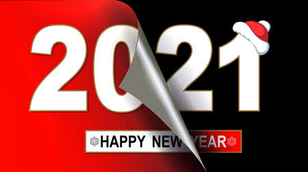 Happy new year 2021 christmas composition, flip page in red and black Иллюстрация