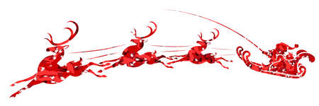 Element of Christmas composition. Texture silhouette of Santa Claus rushing fast on reindeer in red
