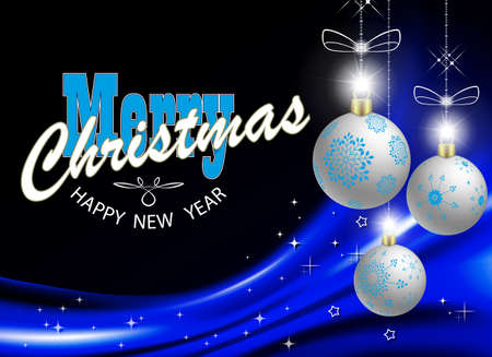 Christmas blue background with gradient, gorgeous Christmas balls with glitter