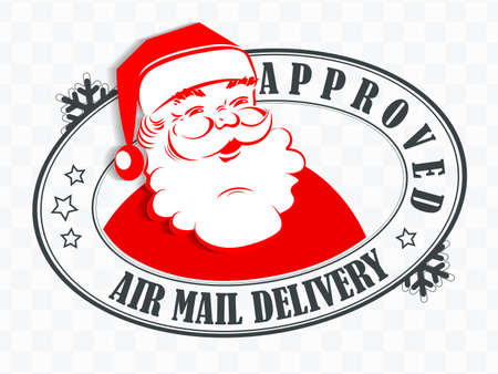 Element of Christmas composition. Oval stamp with face of merry Santa Claus