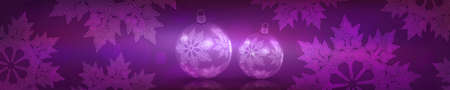 Christmas purple background with gradient, gorgeous white snowflakes, transparent Christmas balls Vettoriali