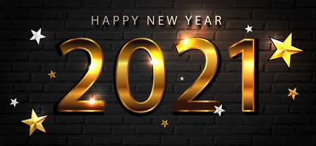 Happy new year 2021 christmas composition, golden-tinted numbers on a dark brick wall