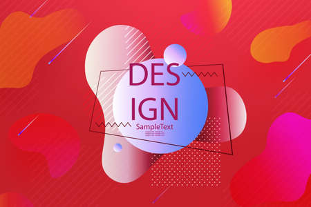 Design with a gradient of red, abstract oval shapes, oblique lines 免版税图像 - 161895135