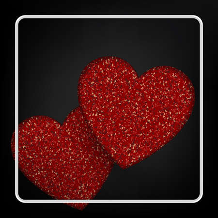 Black composition, textural two red hearts, square white frame 免版税图像 - 161727741