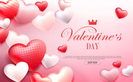Valentine s Day, red composition with a gradient, silhouettes of bright red hearts with a pattern 矢量图像