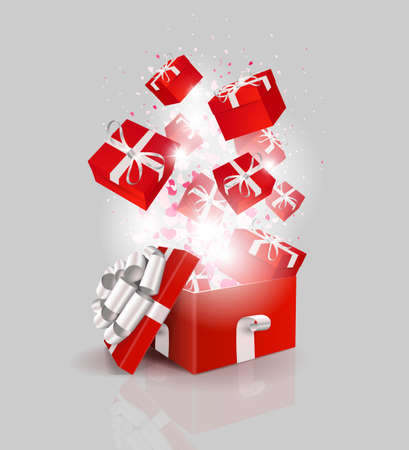 Festive design element, red box with lid and white bow, set of boxes like flash