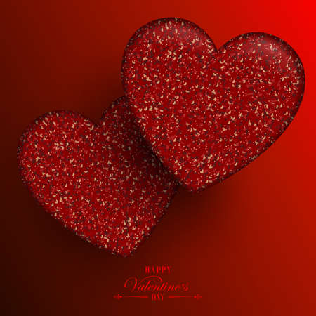 Red composition with gradient, wonderful textural two red hearts