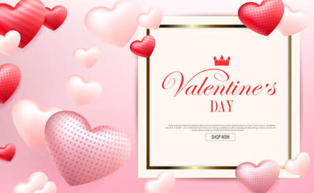 Valentine s Day, light composition with a gradient, square frame, silhouettes of hearts with a pattern