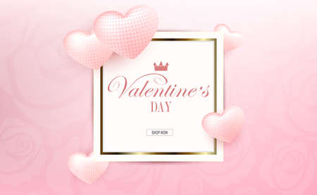 Valentine s Day, light pink composition with a gradient, square frame, gentle silhouettes of hearts with a pattern 免版税图像 - 161135106