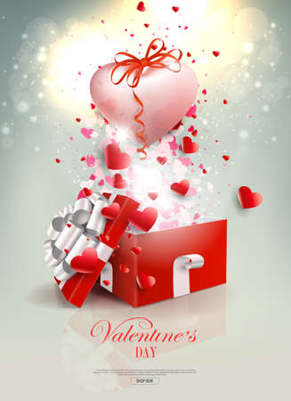 Valentine s Day, light composition with a square red box and a light pink heart with a bow 免版税图像 - 161135108