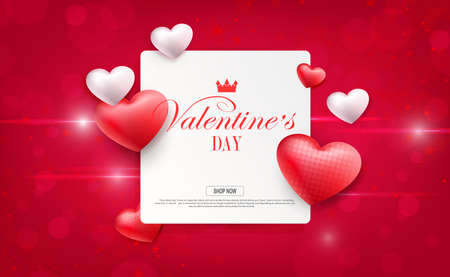 Valentine s day, red composition with square frame, circles and stars 免版税图像 - 161287937