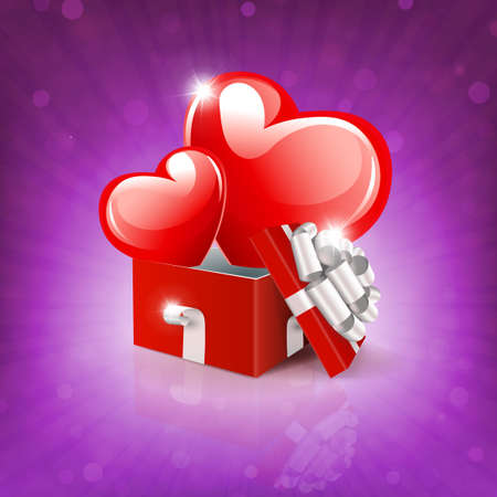 Valentine s day, purple composition with a square red box and two red hearts 免版税图像 - 161287938
