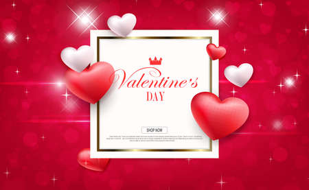 Valentine s Day, red composition with a square frame of circles and hearts 免版税图像 - 161287939