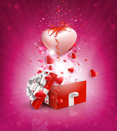 Valentine s Day, pink composition with a square red box and a light pink heart with a bow 免版税图像 - 161287940
