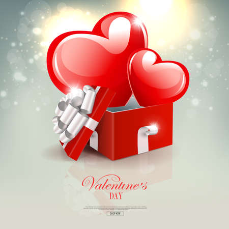 Valentine s Day, light composition with two red hearts with glitter inside the box
