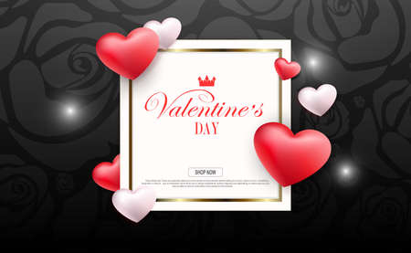 Valentine s day, black composition with flowers silhouette, square frame and hearts