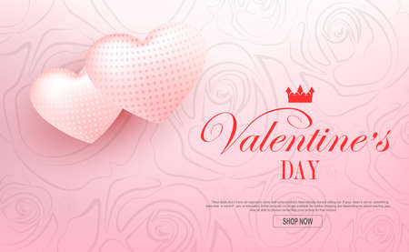 Valentine s day, pink light composition with two textured hearts 免版税图像 - 161287944