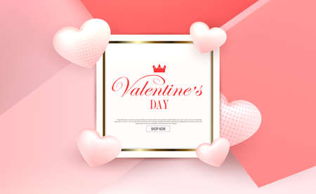 Valentine s day, pink light composition, square frame with gold border, light textured hearts