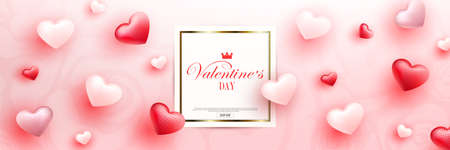 Valentine s day, light composition, square frame with gold border, set of hearts