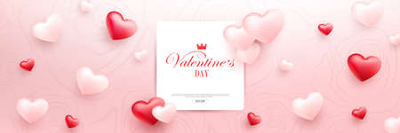 Valentine s day, light composition with a set of hearts, white square frame 矢量图像