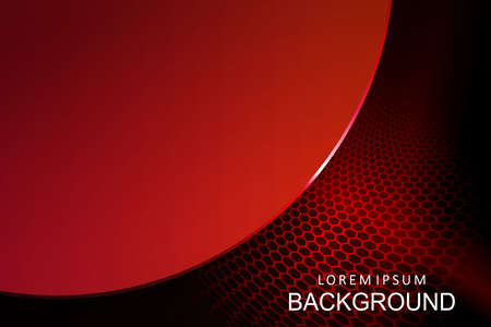 Abstract dark mesh composition in red shade with a silhouette of a round frame with edging and glitter 矢量图像