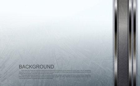 White textured background, vertical mesh rectangular frame with metallic border Ilustrace