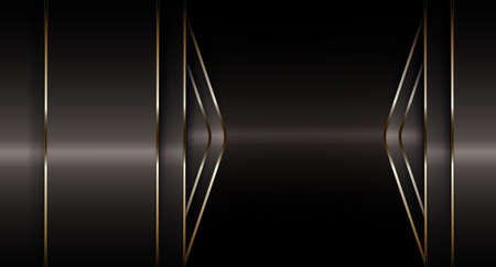 Geometric composition with gradient beige curtains and arrows with gold rim