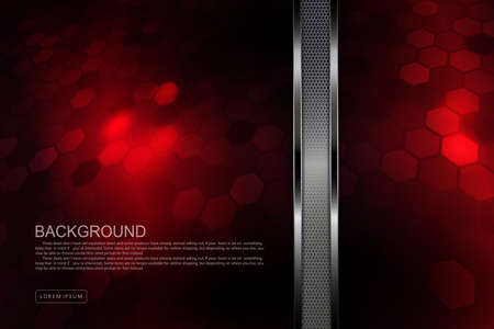 Red textured design with polygon silhouettes, vertical mesh border with border