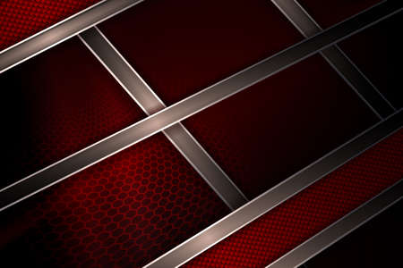 Abstract dark red design, mesh lattice silhouette, slanted textured curtains and stripes 矢量图像