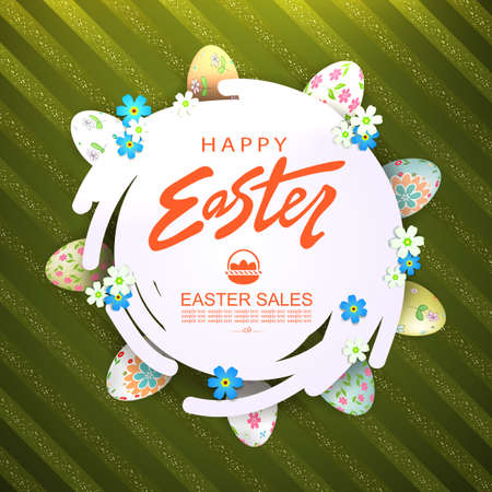 Green striped composition with abstract round white frame, around the frame Easter eggs with a pattern and flowers