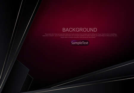 Burgundy geometric background with a gradient, oblique dark gray curtains with thin shiny edging