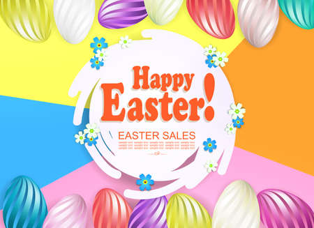Easter multicolor composition with abstract round white frame, eggs with a striped pattern 矢量图像