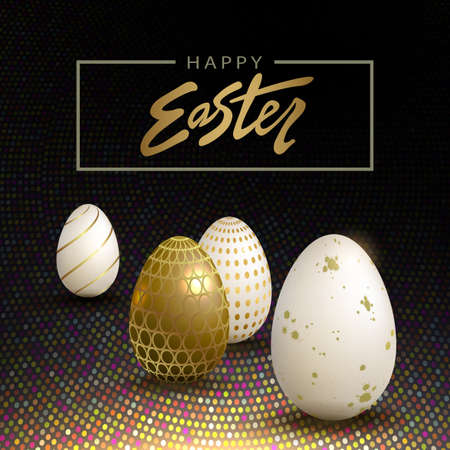 Easter eggs with a pattern, a composition of a black shade with a bright mosaic 矢量图像