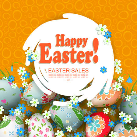 Orange composition with an abstract round white frame, Easter eggs with a pattern and flowers 矢量图像