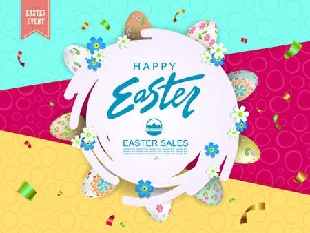 Illustration with Easter eggs and flowers, abstract round white frame with flowers, slanting curtains