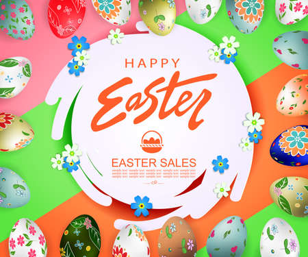 Abstract round frame, Easter eggs with a pattern, an illustration of green and brown shades