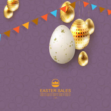 Easter purple card, eggs in white and gold shades with a pattern on the pendants