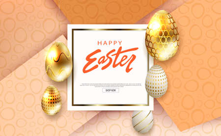 Composition with Easter eggs in gold and white shades with a pattern, square white frame, slanting curtains