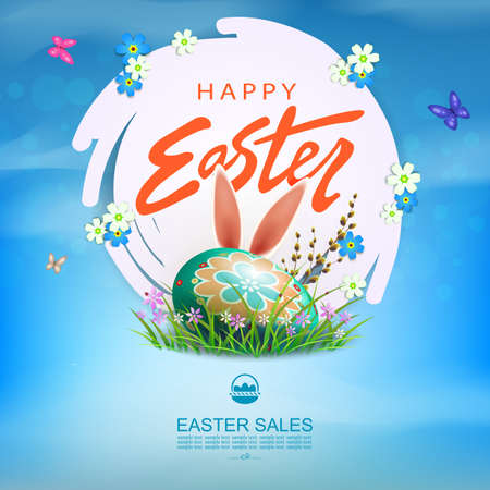 Easter blue card, white abstract frame, egg lies in the grass with flowers