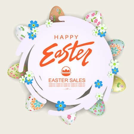 Design element, abstract round white frame, illustration with Easter eggs, wreath 矢量图像