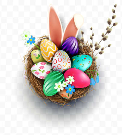 Easter design element, nest with eggs, bunny ears, willow twig