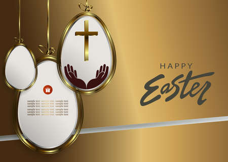 Easter brown design with abstract silhouettes of eggs with gold border on pendants