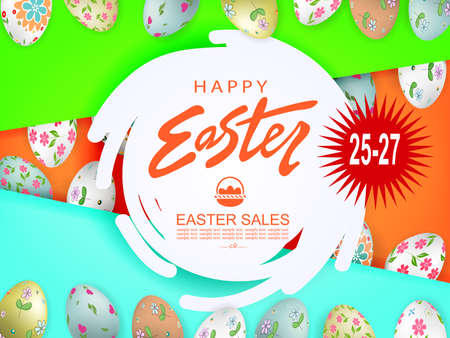 Abstract round white frame, illustration with Easter eggs with a pattern, slanting curtains