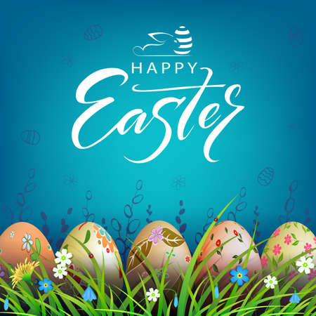 Easter blue illustration, eggs with a beautiful pattern in the grass with flowers 矢量图像