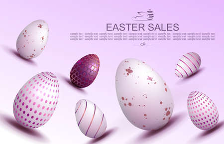 Easter light purple illustration, eggs with a beautiful pattern drawn obliquely